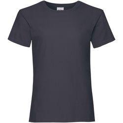 Textiel Meisjes T-shirts korte mouwen Fruit Of The Loom Valueweight Donker Marine