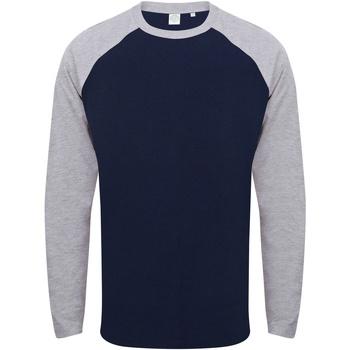 Textiel Heren T-shirts met lange mouwen Skinni Fit SF271 Marine Oxford / Heide Grijs