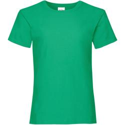 Textiel Meisjes T-shirts korte mouwen Fruit Of The Loom Valueweight Kelly Groen