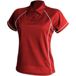Textiel Dames Polo's korte mouwen Finden & Hales LV371 Rood/Wit