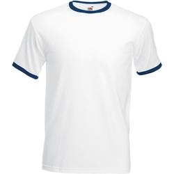 Textiel Heren T-shirts korte mouwen Fruit Of The Loom 61168 Wit/Marine