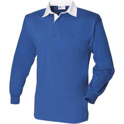 Textiel Heren Polo's lange mouwen Front Row FR100 Koninklijk/Wit