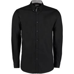 Textiel Heren Overhemden lange mouwen Kustom Kit KK190 Zwart/Zilver
