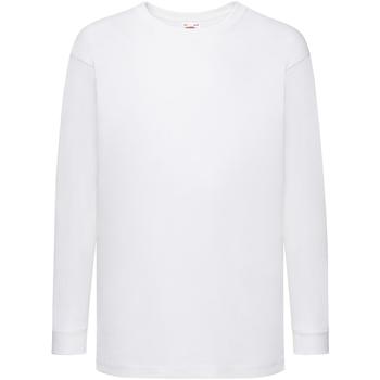 Textiel Kinderen T-shirts met lange mouwen Fruit Of The Loom 61007 Wit