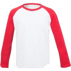 Textiel Kinderen T-shirts met lange mouwen Skinni Fit SM271 Wit / Rood