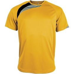 Textiel Heren T-shirts korte mouwen Kariban Proact PA436 Geel/ Zwart/ Stormgrijs