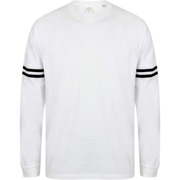 Textiel Heren T-shirts met lange mouwen Skinni Fit Slogan Wit / zwarte strepen