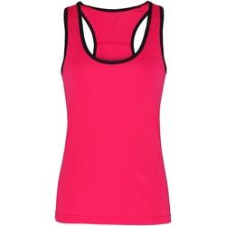 Textiel Dames Mouwloze tops Tridri TR023 Heet Roze / Zwart