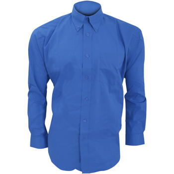Textiel Heren Overhemden lange mouwen Kustom Kit KK105 Koningsblauw