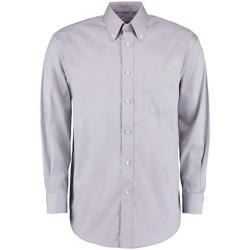 Textiel Heren Overhemden lange mouwen Kustom Kit KK105 Zilvergrijs