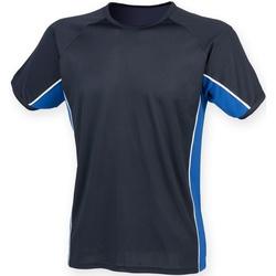 Textiel Kinderen T-shirts korte mouwen Finden & Hales LV242 Marine / Koninklijk / Wit