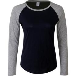 Textiel Dames T-shirts met lange mouwen Skinni Fit SK271 Marine Oxford / Heather Grey