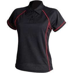 Textiel Dames Polo's korte mouwen Finden & Hales LV371 Zwart/Rood