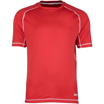 Textiel Heren T-shirts korte mouwen Rhino RH041 Rood/witte stiksels