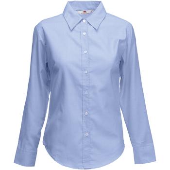 Textiel Dames Overhemden Fruit Of The Loom 65002 Oxford Blauw
