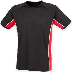 Textiel Heren T-shirts korte mouwen Finden & Hales LV240 Zwart / Rood / Wit