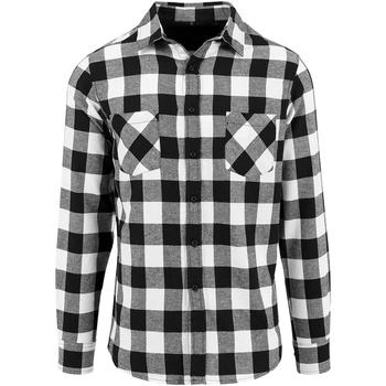 Textiel Heren Overhemden lange mouwen Build Your Brand BY031 Zwart/Wit