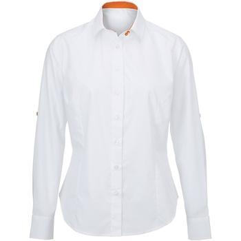 Textiel Dames Overhemden Alexandra AX060 Wit/oranje