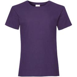 Textiel Meisjes T-shirts korte mouwen Fruit Of The Loom 61005 Paars