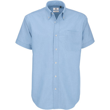 Textiel Heren Overhemden korte mouwen B And C SMO02 Oxford Blauw