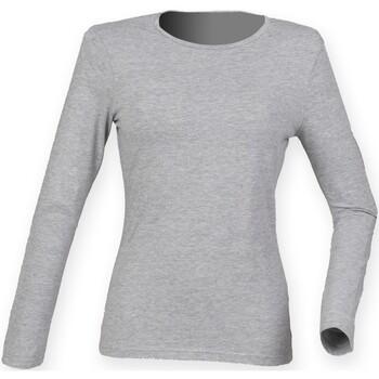 Textiel Dames T-shirts met lange mouwen Skinni Fit SK124 Heide Grijs