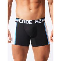 Ondergoed Heren Boxershorts Code 22 Lange Boxer Asymmetrische Sport Code22 Parelmoer Zwart