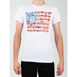 Textiel Heren T-shirts korte mouwen Wrangler S/S Modern Flag Tee W7A45FK12 white