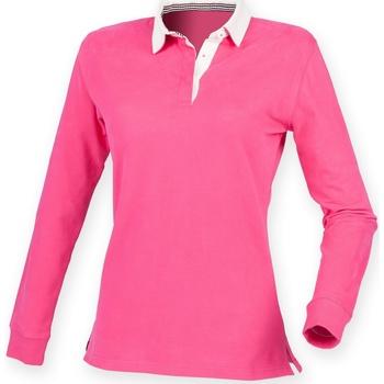 Textiel Dames Polo's lange mouwen Front Row FR105 Helder Roze