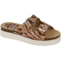 Schoenen Dames Leren slippers Down To Earth  Bruin/bruin