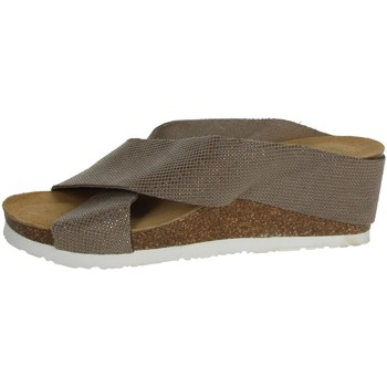 Schoenen Dames Leren slippers Riposella C81 Brown Taupe
