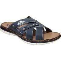 Schoenen Heren Leren slippers Rieker 25199 Marineblauw