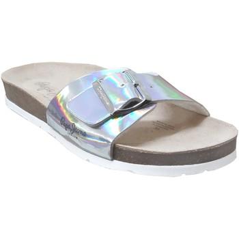 Schoenen Dames Leren slippers Pepe jeans Oban mercu Metaal grijs