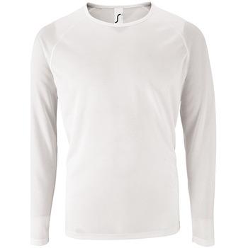 Textiel Heren T-shirts met lange mouwen Sols SPORT LSL MEN Blanco