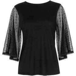 Textiel Dames Tops / Blousjes Lisca Soft Spot  Cheek T-shirt met driekwart mouwen Parelmoer Zwart