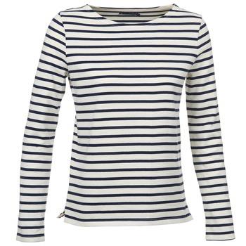 Textiel Dames T-shirts met lange mouwen Petit Bateau SYMBOLE Ecru / Marine