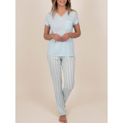 Textiel Dames Pyjama's / nachthemden Admas Binnenkleding pyjamabroek t-shirt Classic Stripes blauw Blauw