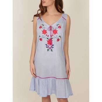 Textiel Dames Pyjama's / nachthemden Admas Mexicaans borduurwerk nachtjapon blauw Adma's Blauw