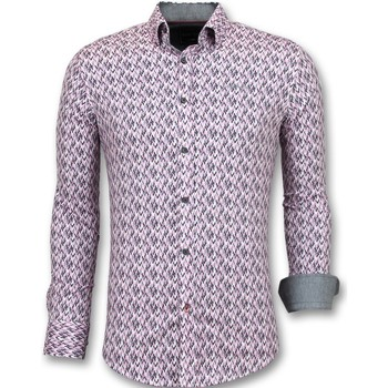 Textiel Heren Overhemden lange mouwen Tony Backer Slim Fit Stretch-  Print - Roze