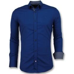 Textiel Heren Overhemden lange mouwen Tony Backer Getailleerde Overhemden -  - Blauw
