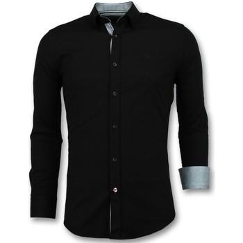 Textiel Heren Overhemden lange mouwen Tony Backer Italiaanse  - Slim Fit Overhemden - Zwart