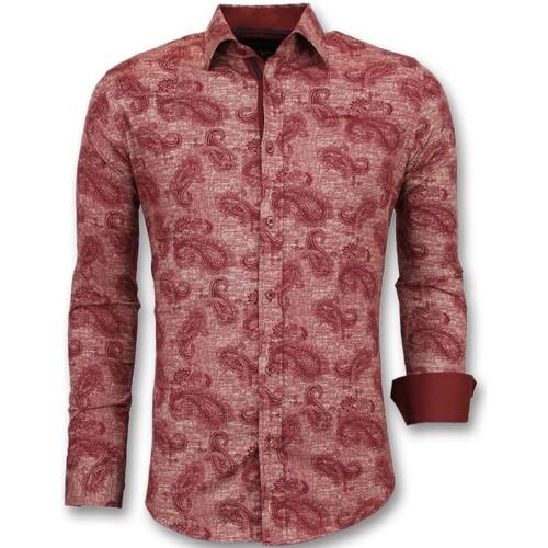 Textiel Heren Overhemden lange mouwen Tony Backer Bloemenprint - Slim Fit  - Rood