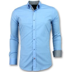 Textiel Heren Overhemden lange mouwen Tony Backer Slim Fit -  -  Licht Blauw