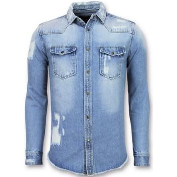 Textiel Heren Overhemden lange mouwen Enos Lange Spijker - Denim- Blauw