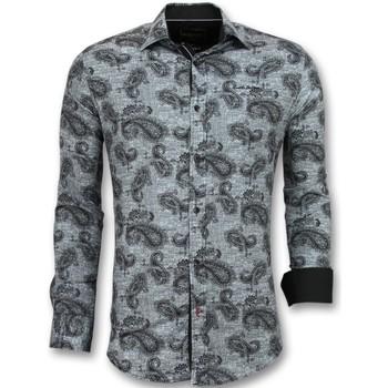 Textiel Heren Overhemden lange mouwen Tony Backer Italiaanse  -met Print In Kraag - Zwart