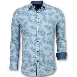 Textiel Heren Overhemden lange mouwen Tony Backer Slim Fit - Bloemen  - Turquoise