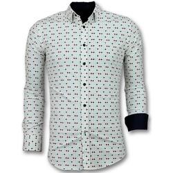 Textiel Heren Overhemden lange mouwen Tony Backer Overhemden Slim Fit - Tetris Motief Hemd - Beige