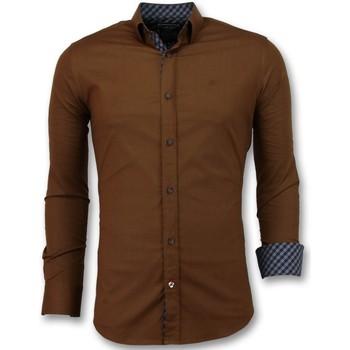 Textiel Heren Overhemden lange mouwen Tony Backer Overhemden Italiaans - Extra Slim Fit - Bruin