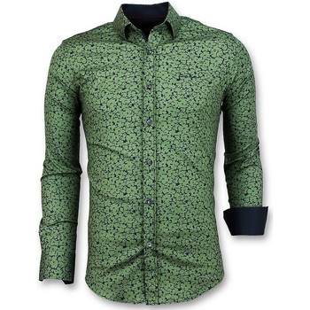 Textiel Heren Overhemden lange mouwen Tony Backer Plantenprint - Slim Fit  - Groen