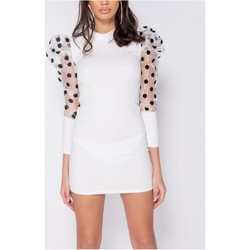 Textiel Dames Korte jurken Parisian Sheer Polka Dot Organza Sleeve Bodycon Mini Dress - Wit