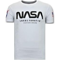 Textiel Heren T-shirts korte mouwen Local Fanatic T-shirt Met Opdruk - Nasa American Flag Shirt - Wit